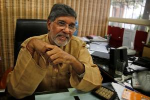 Kailash Satyarthi at his office in New Delhi.