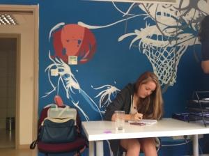 Our newest intern, Rebecca, hard at work!