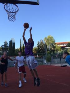 Cetin jumping high for the lay up