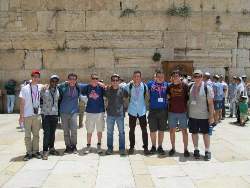 Matthew (fourth from right) at the Western Wall in Jerusalem, Israel.