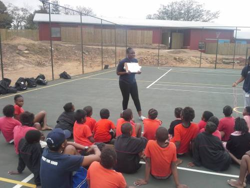 PPI-SA coach Gabreila Gocovah, seen here running a clinic at LIV Village earlier in the year.