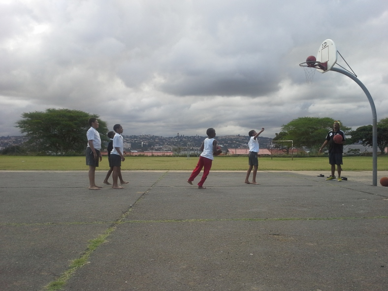 Coach Yamkela, out before practice working with some of his kids at Assegai Primary School