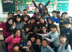 LaToya with some of her 5th grade English students in South Korea.