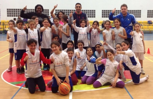"""The girl participants from Meiser and Kfar Saba giving a """"Like""""/thumbs up with a few of the coaches."""