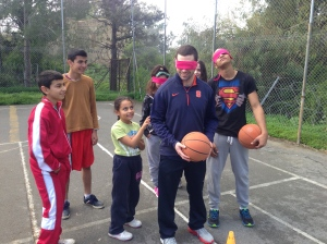 Jason taking part in a trust game with his trustworthy partner!
