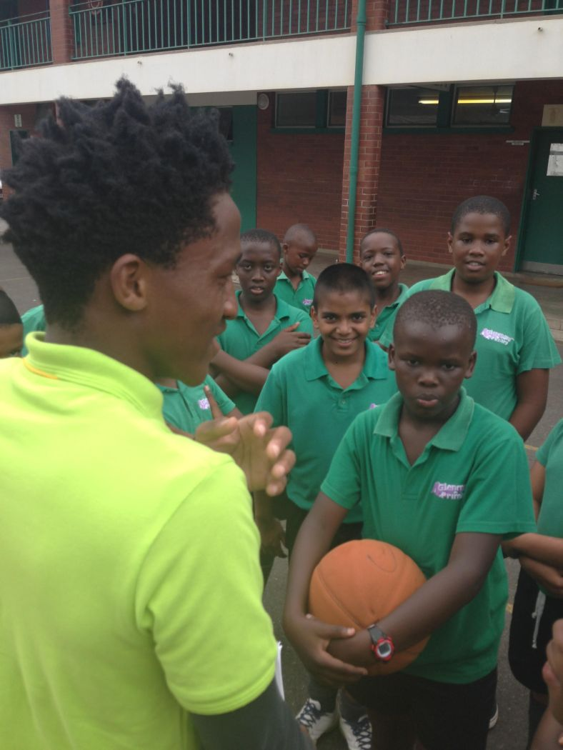 Coach Samkelo leads his first basketball session for PeacePlayers International - South Africa