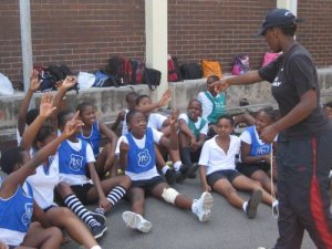 Nasiphi leads a Recap Session with Carrington Primary after a game in the City Extravaganza in 2010