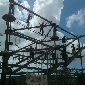 Team building challenge on the ropes course at the Limassol Adventure Park