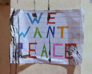 Sign at the Yad B'Yad school in Jerusalem created by participants in the PPI-ME program.