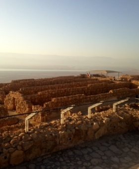 The view of the sunrise from the top and  overlooking The Dead Sea.