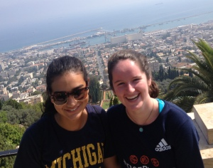 Hannah (left) and Katie (right) pose together in front of the Port of Haifa