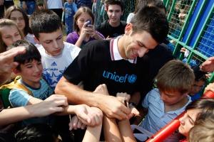 Novak Djokovic at a nursery school near Belgrade, Serbia. Photo: UNICEF/Nebojsa Babic