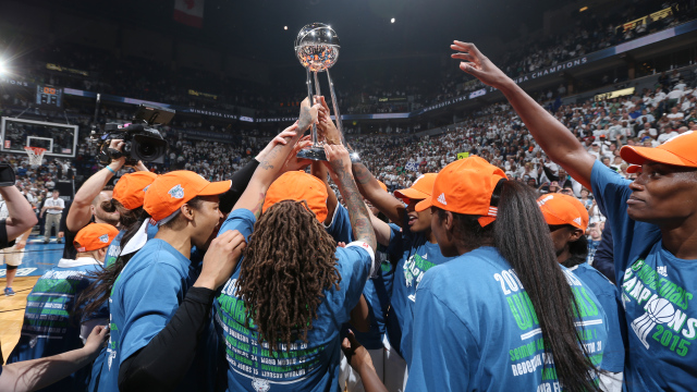 The Minnesota Lynx celebrate after winning the 2015 WNBA Championship in Game Five of the 2015 WNBA Finals against the Indiana Fever on October 14, 2015 at Target Center in Minneapolis, Minnesota.