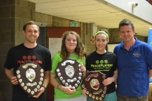 Ben (Coach of the Year 2015), Eimear (C4P of the Year 2015) and Hannah (Coach in Training of the Year 2014) with Gareth