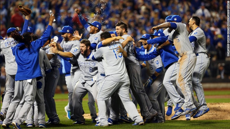 The Kansas City Royals react after winning the 2015 World Series!