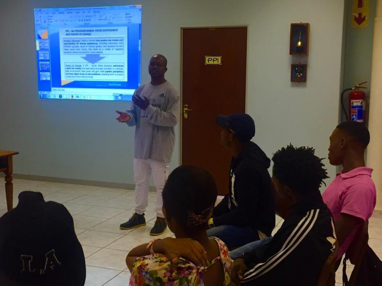 Ntobeko facilitating the life skills curriculum.