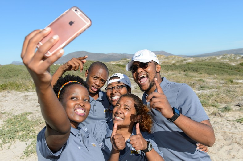 Sanele in the selfie with other Laureu YES Experts Nasiphi Khafu, Katlego Malaka, Bongiwe Nhleko and Banyana Banyana Assistant coach Desiree Ellis