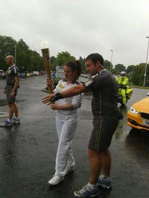 Joanne carying torch